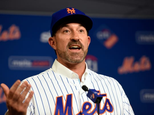 Mickey Callaway is named the new manager of the New York Mets during a press conference on Monday, October 23, 2017 in Flushing, NY.