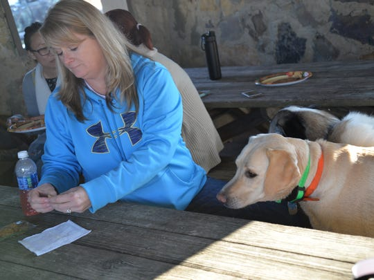 Kelly Shaw feeds some dogs at Coyner Springs Park in Waynesboro on Thursday, Nov. 23, 2017 during their annual Thanksgiving meal with their furry friends.
