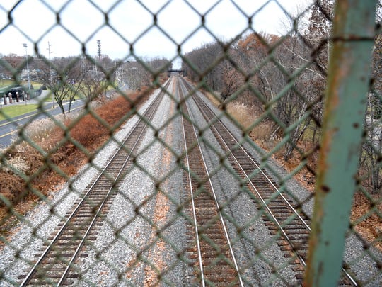 Looking south on the railroad tracks that run along Palisade Avenue in Teaneck.