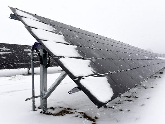 The St. John's University solar farm shown Jan.10, 2017, with 23 acres recently added. On peak sunny summer days, it could produce as much as 90 percent of the campus' power.