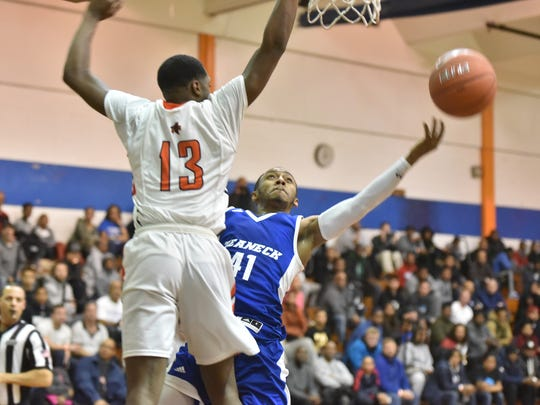 Senior Ja'Quaye James (41) scored a game-high 34 as Teaneck topped Eastside, 97-69, in a first-round game of the Jingle Bells Jubilee boys' basketball tournament at Don Bosco Tech in Paterson on Tuesday, Dec. 26, 2017. James now has 1,949career points, according to Teaneck coach Jerome Smart..