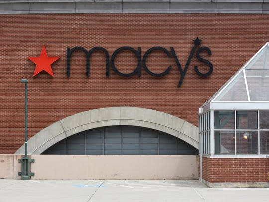The Macy's facade facing west in downtown Burlington