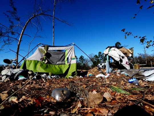 A tent city in west Shreveport.