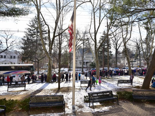 Hundreds participated in Women's March in Leonia on Saturday.