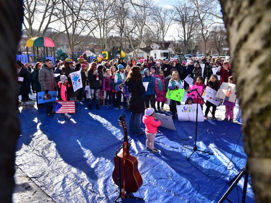 Hundreds participated in Women's March in Leonia, which culminated at Wood Park on Saturday.