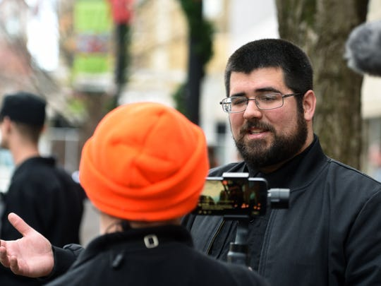 Traditionalist Worker Party organizer Matthew Heimbach talks after coming to Knoxville to protest what he called a pro-abortion feminist agenda Sunday, Jan. 21, 2018.