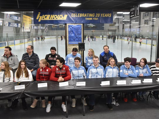 The Ice House's Olympic figure skaters gathered for a press conference on Wednesday.