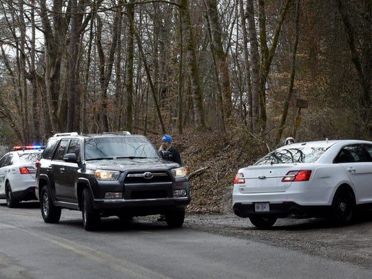Scene in Blount County where sheriff's deputies searched for Blake Smith  Monday, Feb. 5, 2018. Smith's car was found wrecked at  a construction site in Blount County with a cinder block on the gas pedal and his phone and wallet in the car, said his aunt, Jill Brasher Williams.