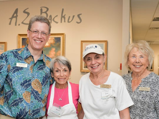 A.E. Backus Museum Executive Director J. Marshall Adams, left, Sue Dasso, Janie Hinkle and Marilyn Rose.