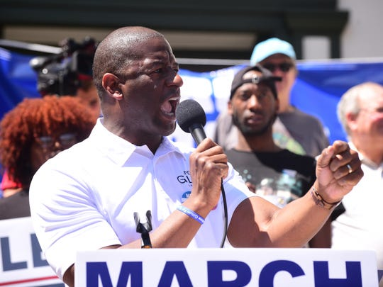 Tallahassee mayor and Florida governor candidate Andrew Gillum (D) speaks to the crowd at the March for Our Lives Rally on the steps of the Old Florida Capitol on Saturday, March 24.