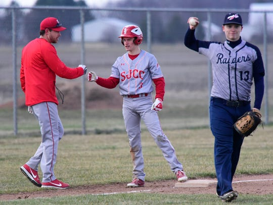 SJCC's Dylan Filliater had two RBI against Lakota on Monday.