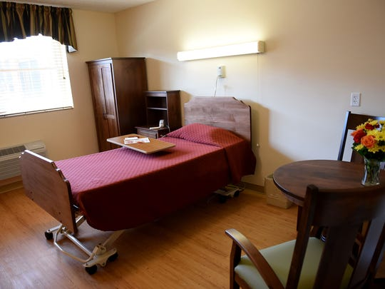A newly renovated patient room at Arlington Care Center