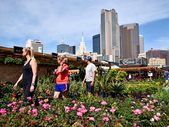 In this March 24, 2018 photo, the Hopson family browse the plants and flowers outside of Ruibal's Plants of Texas, at the Dallas Farmers Market, in downtown Dallas.
