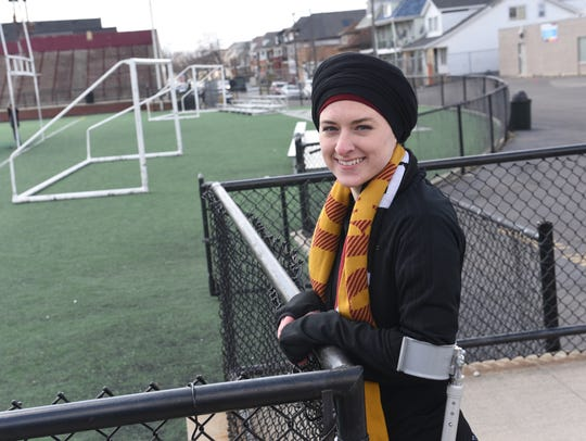 Amanda Jaczkowski stands at Keyworth Stadium this month.