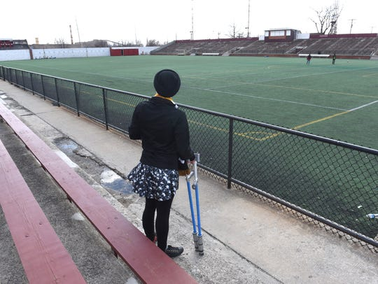 Amanda Jaczkowski stands at Keyworth Stadium earlier