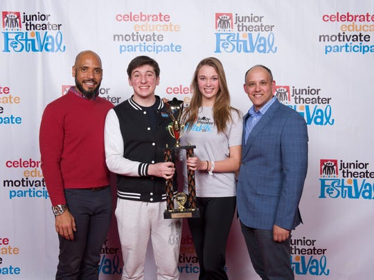 Pictured in Treehouse Theater Excellence in Dance are from left: Producing artistic director at Adventure Theatre MTC Michael Bobbit, Treehouse Theater student Samuel Schoepp, Treehouse Theater student Julie Rohrer and Music Theatre International Australasia director Stuart Hendricks.