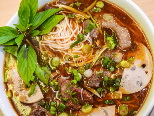 The bún bò huế, or spicy Vietnamese beef soup from
