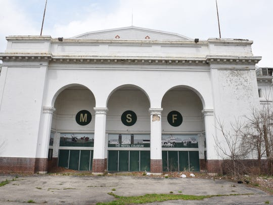 The Hertel Coliseum at the Michigan State Fairgrounds in Detroit in 2018. Magic Johnson's development firm has purchased 16 acres of the site and the city of Detroit will purchase 142 acres.