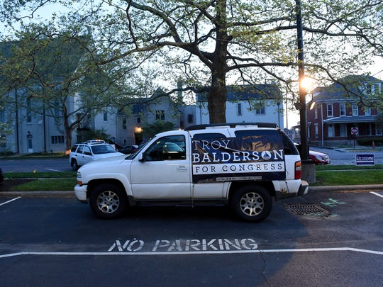 A vehicle parked in front of the DoubleTree by Hilton in Newark in support of State Senator Troy Balderson. Balderson won the republican primary for Ohio District 12.