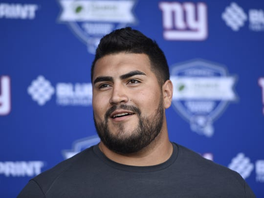 New York Giants rookie guard Will Hernandez speaks to the media during a press conference in East Rutherford, NJ on Friday, May 11, 2018.