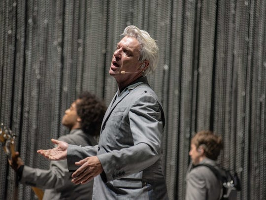 David Byrne performs before a sold-out crowd at the