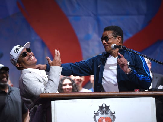 Marlon Jackson (left)  and his brother Jackie have fun as they announce their performance for the upcoming Detroit Music Weekend in at Music Hall.