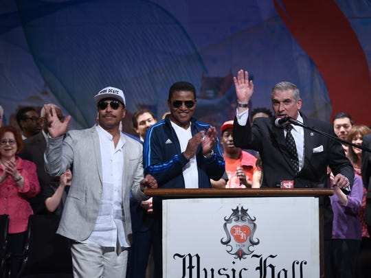 Marlon Jackson (from left) his brother Jackie Jackson and Vince Paul, President and Artistic Director, Detroit Music Hall, announce the upcoming Detroit Music Weekend during a press conference at Music Hall in Detroit.