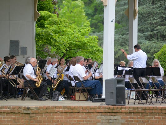 The Stonewall Brigade Band at the Memorial Day Service at Gypsy Hill Park on Monday, May 28, 2018.