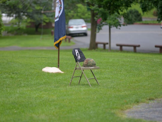 The prisoner of war helmet at the Memorial Day Service