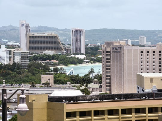 An overview of hotels and businesses with Tumon Bay on Friday, June 1, 2018.