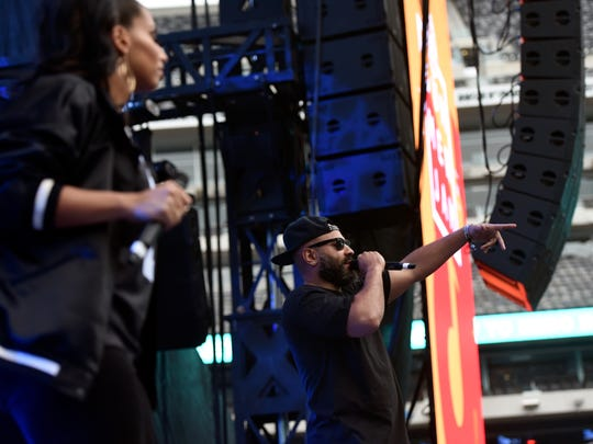 Hot 97 DJ Ebro on stage for Summer Jam at MetLife Stadium in East Rutherford, NJ on Sunday, June 10, 2018.