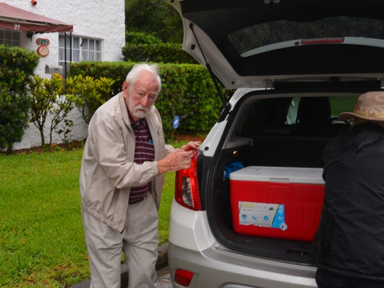 Ed Kydd, 101, delivers Meals on Wheels on two routes every Monday with his daughter, Janet von Berg.