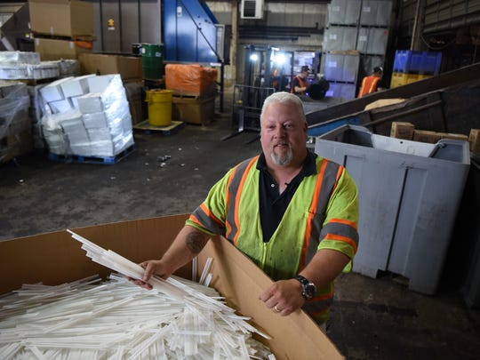 Ag Choice Organics Recycling in Andover, NJ recycles food waste which they compost, in addition to recycling other objects. Jay Fischer, who owns Ag Choice, on Friday June 22, 2018.