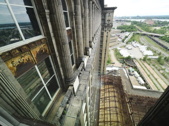 A view from the 13th floor of the Michigan Central Train Depot on Friday during an open house.   (Max Ortiz, the Detroit News)