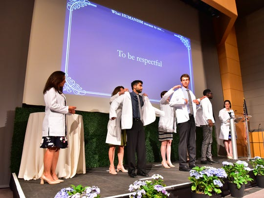 White coat ceremony for first year students, when they receive their coats and vow to bring compassion and humanity to medical care, at Seton Hall Medical School in Nutley, NJ.