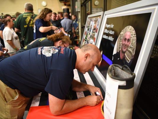 Prayer vigil for Adam Jobbers-Miller at Wayne Fire Company two