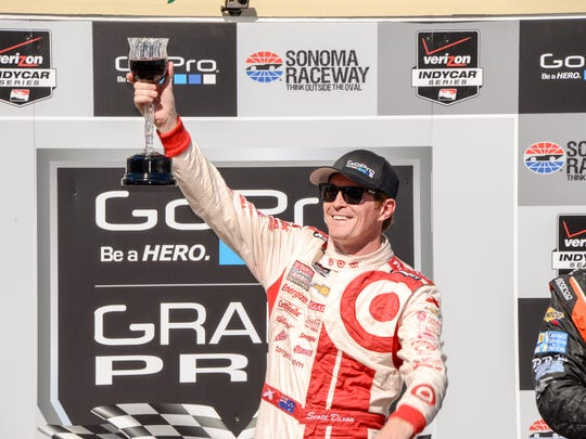 Scott Dixon enjoys the spoils of victory at Sonoma.