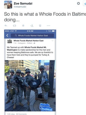 Many people on Twitter were unhappy with Whole Foods for handing out food to the National Guard in Baltimore.