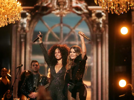 Singers Alicia Keys and Maren Morris during The 59th