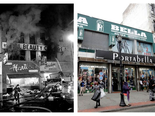 In a July 14, 1967 file photo, left, firefighters battle a blaze on Broad Street near Branford Place in Newark. In a June 16, 2017 photo, right, people stand outside retail stores at the same place 50 years later.