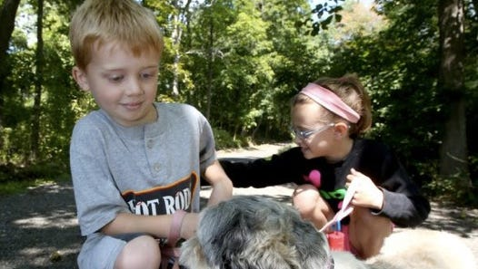 Rory Grant, 7, of New City, and his sister, Sadie, 8, play with their dogs at Kennedy-Dells Park in New City Aug. 14, 2014.