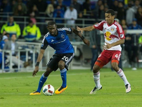 Wappingers Falls' Tyler Adams, right, a New York Red Bulls midfielder, defends San Jose Earthquakes' Shaun Francis on April 13 in San Jose, California.