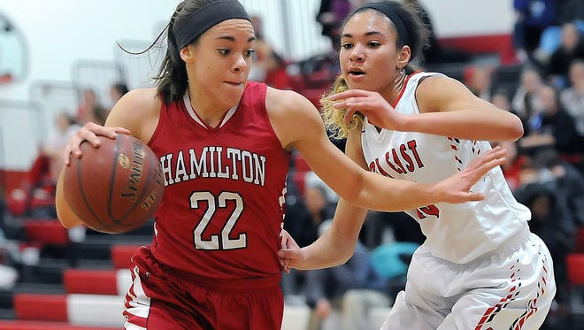 Entering a game Tuesday night against West Allis Hale, Sussex Hamilton's Taylor Laboy (left) is averaging 7.7 points and 7.2 points.