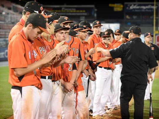The Palmyra baseball team applauds the Hamburg Hawks