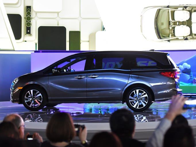 The 2018 Honda Odyssey is unveiled at the North American