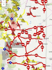 The New Mexico Department of Trasportation published a map of road closures.