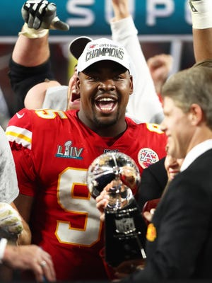 Kansas City Chiefs defensive tackle Chris Jones celebrates after defeating the San Francisco 49ers in Super Bowl LIV. Jones has reportedly agreed to a four-year, $85 million deal to remain with the Chiefs.