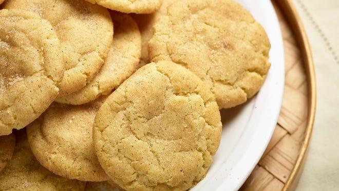 Snickerdoodle cookies in Hyde Park, N.Y. The sugar cookies is rolled in cinnamon-sugar before being baked.
