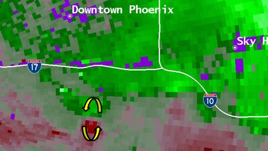 The National Weather Service said a brief landspout tornado was south of downtown Phoenix on Aug. 3, 2017.