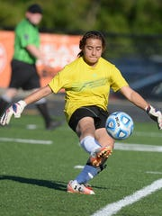 Richmond's Nikki Mittenthal clears the ball during a girls soccer game against Tri County North Wednesday, Sept. 16, 2015, on Lyboult Field at RHS.